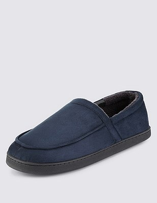 Freshfeet™ Softy Full Cut Slippers with Thinsulate™, NAVY, catlanding