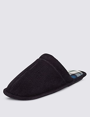 Corduroy Slippers with Thinsulate™, NAVY, catlanding
