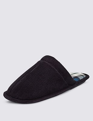 Corduroy Bump Toe Slippers with Thinsulate™, NAVY, catlanding