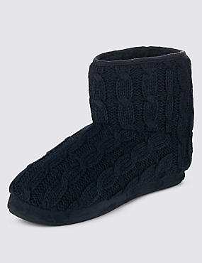 Thinsulate™ Freshfeet™ Cable Knit Slipper Boots with Silver Technology, NAVY, catlanding
