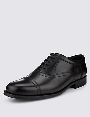 Extra Wide Fit Leather Oxford Lace-Up Shoes, BLACK, catlanding