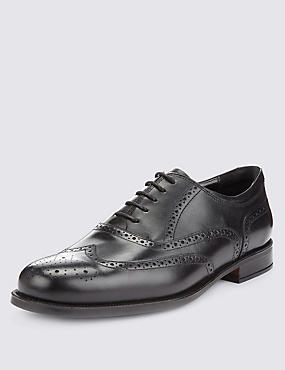 Leather Extra Wide Fit Brogue Shoes, BLACK, catlanding