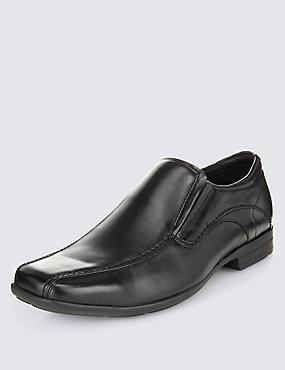 Stitch Detail Slip-on Shoes, BLACK, catlanding