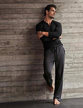 Bas de pyjama ultra-doux coupe slim, GRANIT, catlanding