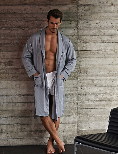 Pure Cotton Lightweight Dogtooth Dressing Gown   M&S