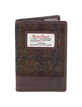 Green Mix Pure Wool Harris Tweed Passport Holder