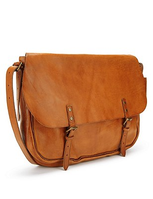 Leather Dispatch Bag, BROWN, catlanding