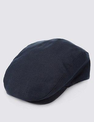 Pure Linen Cool & Fresh™ Checked Flat Cap, NAVY, catlanding