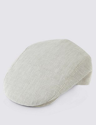 Pure Linen Cool & Fresh™ Checked Flat Cap, BEIGE, catlanding