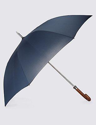 Showerproof Automatic Wooden Crook Handle Umbrella with FLEXITECH™, NAVY MIX, catlanding