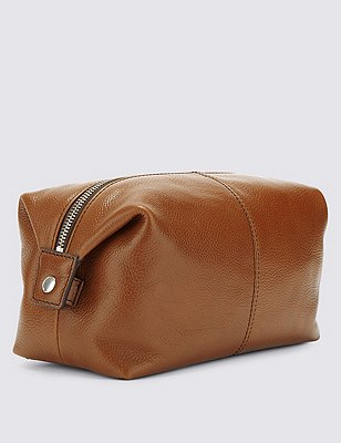 Leather Washbag, TAN, catlanding