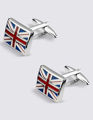 Union Jack Rectangular Cufflinks, BLUE/WHITE, catlanding