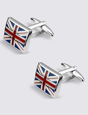 Boutons de manchette drapeau britannique, BLEU/BLANC, catlanding