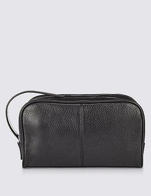Leather Luxury Washbag, BLACK, catlanding