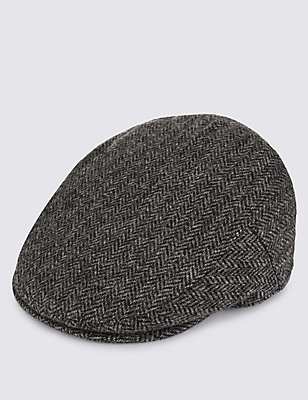 Casquette anglaise 100% laine à chevrons, dotée des technologies Thinsulate™ et Stormwear™, NOIR ASSORTI, catlanding
