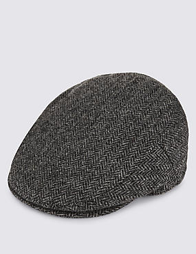 Pure Wool Herringbone Thinsulate™ Flat Cap with Stormwear™, BLACK MIX, catlanding