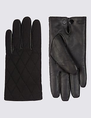 Leather Palm Quilted Gloves with Thinsulate™, BLACK, catlanding