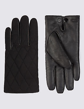 Leather Panelled Quilted Gloves with Thinsulate™, BLACK, catlanding