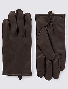 Leather Touchscreen Gloves with Thinsulate™, BROWN, catlanding
