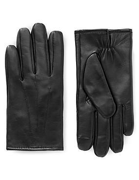 Gants tactiles en cuir, dotés de la technologie Thinsulate™, NOIR, catlanding