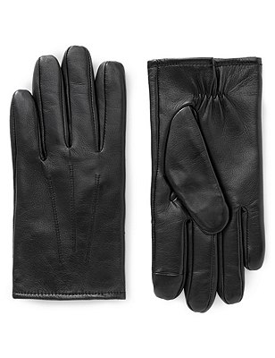 Leather Touchscreen Gloves with Thinsulate™, BLACK, catlanding