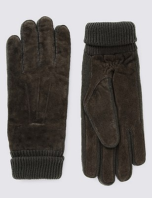Ribbed Cuff Suede Gloves with Thinsulate™, BROWN, catlanding