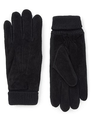 Ribbed Cuff Suede Gloves with Thinsulate™, BLACK, catlanding