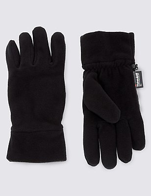 Fleece Gloves with Thinsulate, BLACK, catlanding
