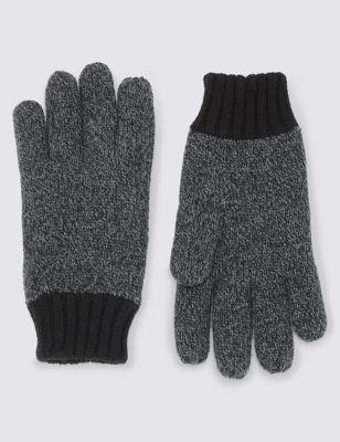 Вязаные перчатки Thinsulate™ с контрастными манжетами от Marks & Spencer