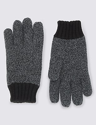 Thinsulate™ Knitted Gloves, BLACK MIX, catlanding