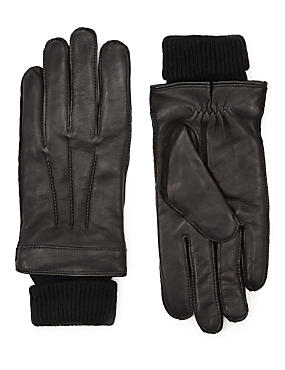 Italian Leather Cuff Knitted Gloves with Thinsulate™, BLACK, catlanding