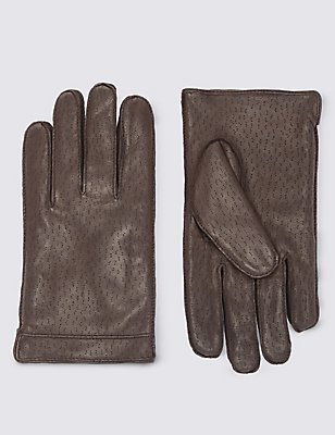 Textured Leather Gloves with Thinsulate™, BROWN, catlanding