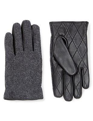 Leather Quilted Palm Knitted Gloves, CHARCOAL, catlanding