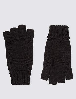 Knitted Fingerless Gloves, BLACK, catlanding