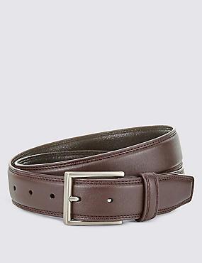 Double Edge Stitched Belt, BROWN, catlanding