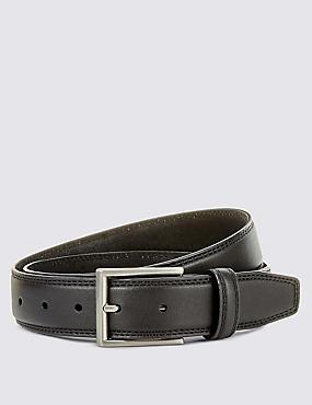Double Edge Stitched Belt, BLACK, catlanding