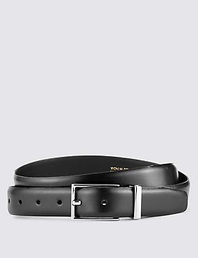 High Shine Leather Formal Belt, BLACK, catlanding