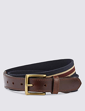 Striped Square Buckle Belt