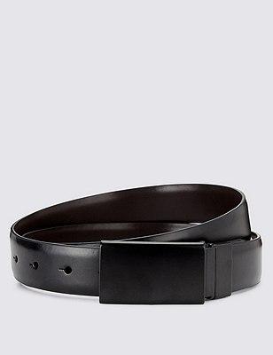 Coated Leather Rectangular Plaque Buckle Belt, BLACK, catlanding