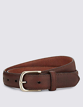 Leather Square Buckle Belt, BROWN, catlanding