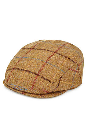 Thinsulate™ Pure Wool Large Bold Checked Flat Cap with Stormwear™