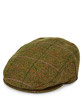 Pure Wool Thinsulate™ Herringbone Checked Flat Cap with Stormwear™