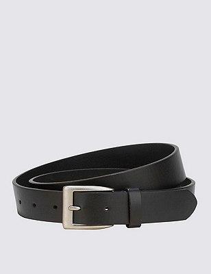 Square Buckle Notched Belt, BLACK, catlanding