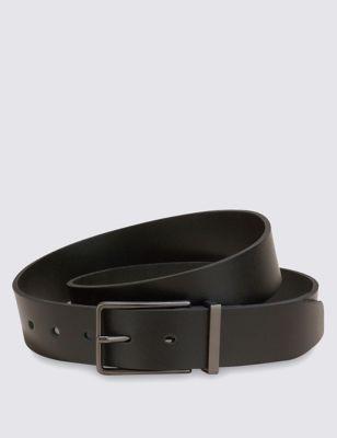 Кожаный ремень с прямоугольной пряжкой цвета серой бронзы