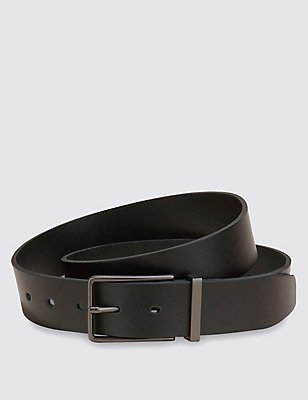 Leather Gunmetal Rectangular Buckle Belt, BLACK, catlanding