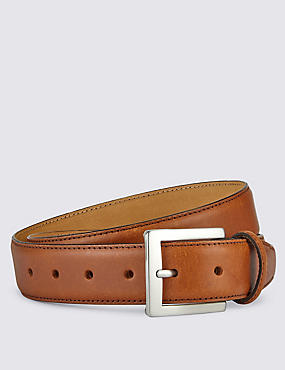 Square Buckle Leather Belt, TAN, catlanding