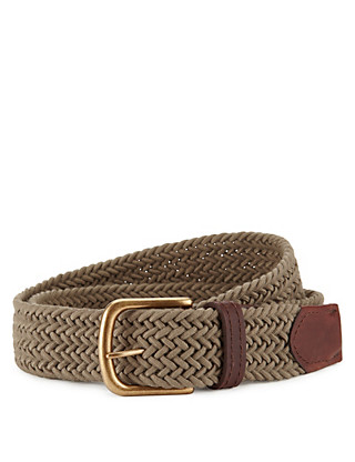 Plaited Square Buckle Stretch Belt Clothing