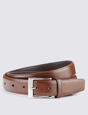 Coated Leather Active Waistband Expander Belt, BROWN, catlanding