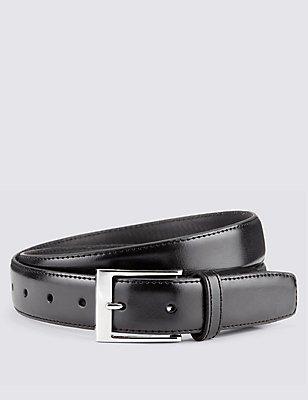 Coated Leather Active Waistband Expander Belt, BLACK, catlanding