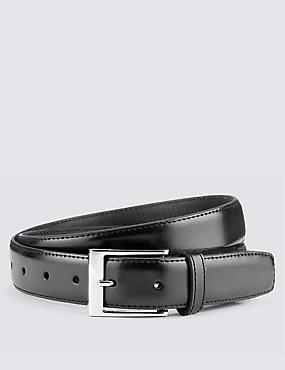 Coated Leather Active Waistband Expander Belt, BLACK, catlanding